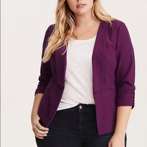 Torrid Purple 3/4 Ruched Sleeve Blazer Jacket